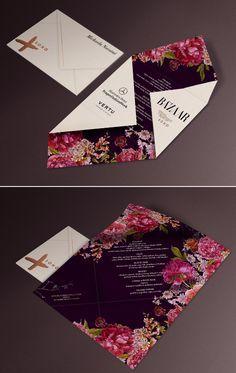 floral, botanical wedding invitation / reception menu design inspiration - fashion week invitation inspiration