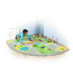 Corner City Rug - Bright road and green spaces rug for imaginative and small world play. The road layout design allows 2 or even 4 to be joined together.
