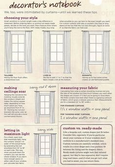 "For 2 bedroom windows that are 13"" from ceiling & 45.5""W & 53.5""W, respectively: hang 8"" from ceiling, 4"" from corner (5"" from widest frame point) & barely touching floor"