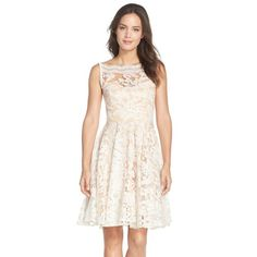 Eva by Eva Franco 'Sessoon' Embellished Mesh Fit & Flare Dress $196