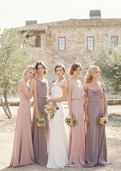Mix of Crepe De Chine bridesmaid dresses + Hayden wedding dress by Jenny Yoo
