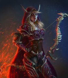 The Warchief Sylvanas Windrunner by Jeanne T CG artist Warrior Goddess Training, Elf Warrior, Warcraft Legion, Warcraft Art, Fantasy Armor, Dark Fantasy Art, Lady Sylvanas, World Of Warcraft Wallpaper, Rpg