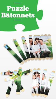 Photo puzzle with wooden sticks - Children's activities, About Me Activities, Educational Activities, Activities For Kids, Photo Puzzle, Dad Crafts, Crafts For Kids, Material Didático, Jw Gifts, Family Pictures
