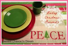 Make a set of Christmas Burlap Placemats with this tutorial.