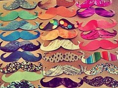 Moustache door decs--could stack colorful paper/magazine pages and cut out mustaches