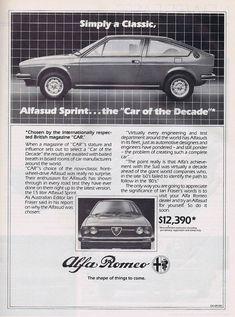Alfa Romeo 1981 Alfasud Sprint, British Magazines, Alfa Alfa, Us Cars, Show Photos, Alfa Romeo, Vintage Advertisements, Cars And Motorcycles, Vintage Cars