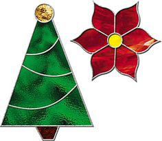 Christmas Tree and Poinsettia Stained Glass Pattern Download