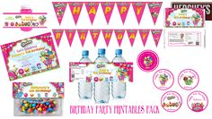 Shopkins Birthday Printable Party Pack $28 available at www.partyexpressinvitations.com Invitation, Birthday banner, cupcake toppper, gift tags, bubble wrappers, goodie bag toppers, candy bar wrapper & water bottle labels