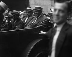 New York Firsts in Black History Jack Johnson rides through Harlem in 1921. The first African American world heavyweight boxing champion, he reigned from 1908-1915.