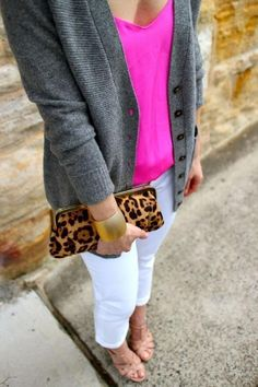 White denim outfit ideas - pair a bright pink shirt with a gray cardigan. Add some sandals and a leopard print clutch for a really cute outfit idea.