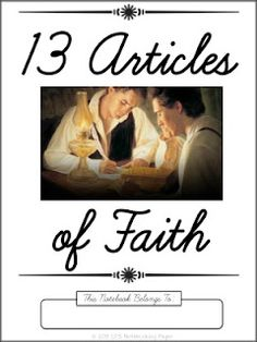 LDS Notebooking: 13 Articles of Faith Cursive Copywork - also available in print
