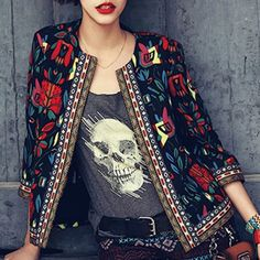 $9.98 Ethnic Style Colorful Printed Jewel Neck 3/4 Sleeve Jacket For Women