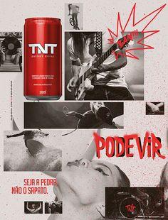 A marca de bebida energética TNT Energy Drink lança campanha, criada pela Y. Graph Design, Web Design, Book Design, Layout Design, Design Art, Poster Design, Graphic Design Posters, Energy Drinks, Print Advertising