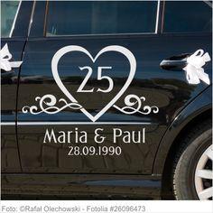 Autoaufkleber Hochzeit - Silberne Hochzeit mit Namen und Datum