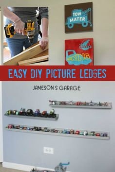 Organize kid's collectibles with these easy DIY picture ledges.
