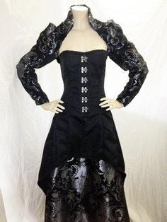 Steampunk gown with chenille shrug by Mad Girl Clothing