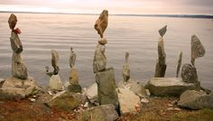 Balanced stone sculptures by Shane Hart