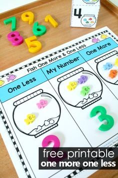 Fish One More One Less Number Sense Activity -Free printable for preschool and kindergarten #fish #preschool #kindergarten