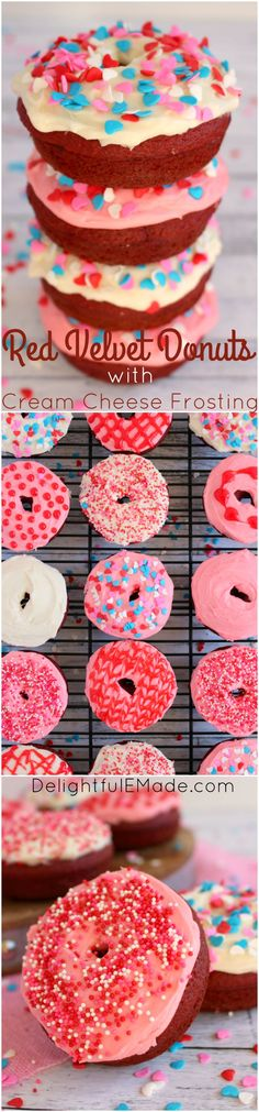 Perfect to treat your Valentine's, these Red Velvet Donuts with Cream Cheese Frosting are amazing!  They make for fun classroom Valentine's treats, a great weekend breakfast for the family or even a great workplace snack!