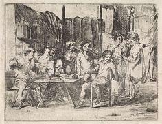 Cornelis de Wael   Gezelschap in een herberg, Cornelis de Wael, 1630 - 1648   Interieur van een herberg met mannen en vrouwen die roken en drinken. De herbergierster zet een kan drank op tafel. Rechts op de achtergrond staan twee mannen met een vrouw te praten. Eén van hen wijst naar een gordijn waarachter een been te voorschijn komt.