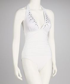 Take a look at this White Halter One-Piece - Women by Jantzen on #zulily today!  $44.99, regular 108.00