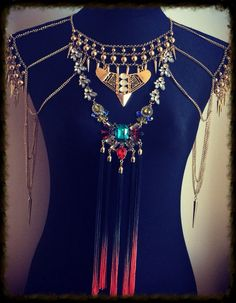 Fringed dip dyed shoulder cape statement jewellery necklace