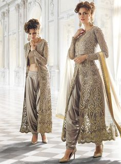 English Grey Heavy Embroidered Jacket Style Salwar Suit
