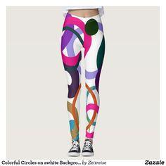 Colorful Circles on awhite Background  Leggings