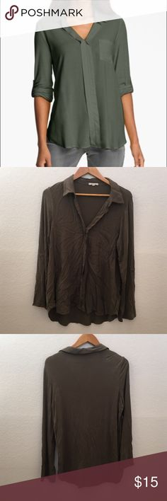 """{Nordstrom} Pleione Mixed Media Shirt {excuse the wrinkles, needs light steam}            - Open V-neck - Chest pocket - Roll-tab sleeves - Semi-sheer - Shirttail hem - Approx. 28"""" length  - Made in USA Shell: 100% rayon Contrast: 95% rayon, 5% spandex contrast             Hand wash Pleione Tops"""