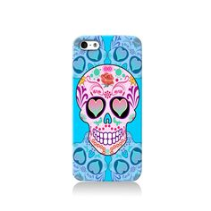 Blue Sugar Skull  is available for iPhone 4/4S, iPhone 5/5s, iPhone 5c and new iPhone 6. The picture shows the design on an iPhone 5/5s case    Our