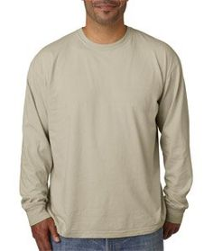 Chouinard Adult Cotton Long-Sleeve Tee - Sandstone PgmDye - 2XL. 6014 Chouinard Adult Heavyweight Long-Sleeve Tee Ring-spun for softness and dyed to perfection. Coordinate: Ladies' 3014, Youth 3483 Preshrunk 100% ring-spun cotton 6.1-oz. Ribbed collar Shoulder-to-shoulder taping Double-needle neck, sleeve, bottom hems Pigment-dyed Sizes: S-2XL.