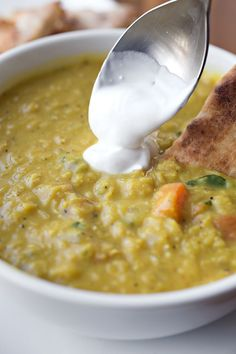 Curried Lentil Soup- added zucchini and thick chopped veggies