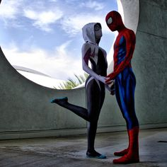 Characters: Spider-Gwen (Gwen Stacy) & Spider-Man (Peter Parker) / From: MARVEL Comics 'Spider-Gwen' & 'The Amazing Spider-Man' / Cosplayers: Jessica Chancellor (aka Maid of Might Cosplay) as Spider-Gwen & Chaos Prince Cosplay as Spider-Man (2015)