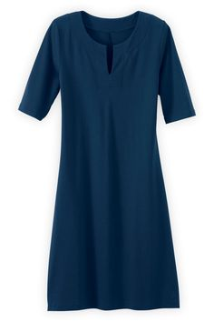 Organic Fair Trade Split Neck Dress - Dresses - Women