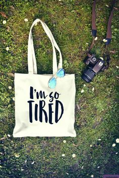 I am So Tired - Canvas Tote Bag - Printed Tote Bag - Funny Tote Bag - Quote  Bag - Uni Bag - Gym Bag - funny Gift - Adult Birthday Gift 0a27a58ff1