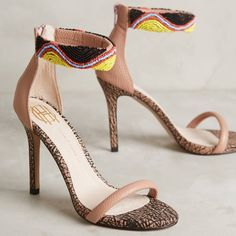 """House of harlow high heels sandals shoes pink A vibrant mix of textured and printed leather and a beaded ankle cuff make this ultra-modern sandal so intriguing. Cool enough to add flair to casual wear, yet detailed enough for evening, this versatile sandal is finished with a cushy padded insole. Leather insoles, rubber outsoles. 4"""" heels. Beautiful blush color. Absolutely gorgeous. Brand new, in box! House of Harlow 1960 Shoes Heels"""