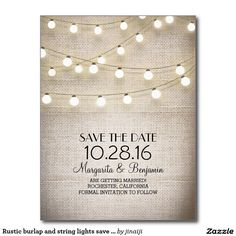 Rustic burlap and string lights save the date postcard - beautiful and romantic rustic country save the date postcard with old vintage burlap lace background and string lights illustration.