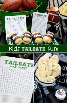 Tailgate ideas for kids! So handy to keep the kids busy before and during the game.