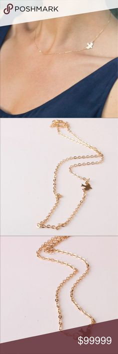 """Coming soon! Like to be notified Dainty Clavicle Bird Gold Toned Necklace; simple & elegant piece that goes with everything! 19.7"""" Long, including extender Jewelry Necklaces"""