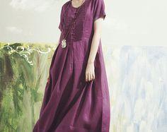 Linen Dress in purple maxi dress boho maxi dress purple