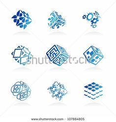 Vector abstract technology icons set  |  Abstract intellectual technology business signs | EPS8 vector