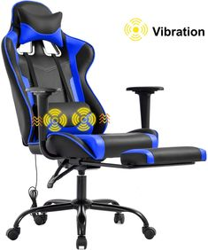 New Gaming Chair Office Chair Desk Chair Massage PU Leather Recliner Racing Chair Headrest Armrest Footrest Rolling Swivel Task PC Ergonomic Computer Chair Back Support, Blue online - Thetrendyclothes - Artair Goodere Gamer Chair, Office Gaming Chair, High Back Office Chair, Desk Chair, Office Chairs, Massage Office Chair, Massage Chair, Ergonomic Computer Chair, Ergonomic Chair