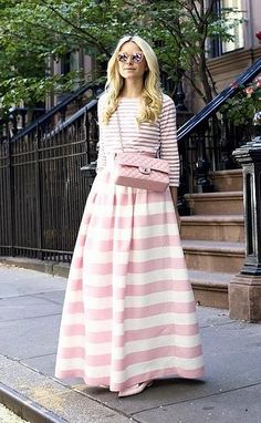 Pink perfection: a striped skirt and top with a Chanel bag