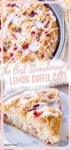 The Best Coffee Cake recipe is this Strawberry Lemon Coffee Cake that would be perfect for your Mother's Day brunch. Light and fluffy, baked with fresh strawberries, and topped with lemon icing. Easy Brunch Recipes, Easy Baking Recipes, Lemon Recipes, Strawberry Recipes, Easy Cake Recipes, Easter Recipes, Easy Desserts, Dessert Recipes, Spring Recipes