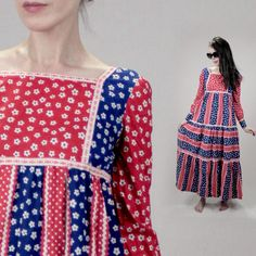 Vintage 1970s maxi dress xs COTTON boho maxi festival patchwork red gingham 70s dress women S, long sleeve RUFFLE prairie 70s maxi hippie by MadCrushVintage on Etsy