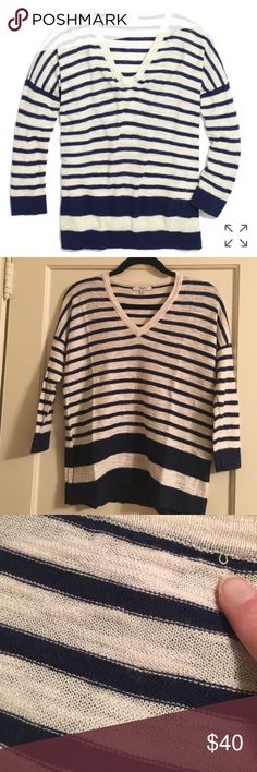 "Madewell slub v neck sweater in stripe block So cute but just don't love the fit on me. Worn twice and hand washed per care instructions. Overall excellent condition - just one small pull on the back by the neck. Looks a bit fuzzy on the edges of the sleeves, but that's because it is 20% wool (80% cotton). No pilling. Oversized fit. Bust 20.5"" flat, length 24"" Madewell Sweaters V-Necks"