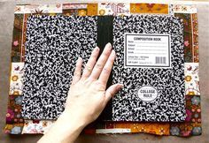 Tutorial: A super-simple way to cover a composition book « CraftyPod Ooh yes I could do this with my collage materials and ideas :-)