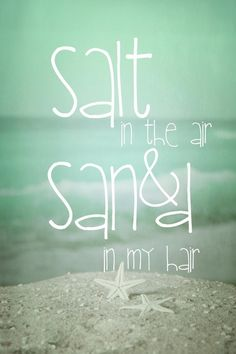 SALT IN THE AIR, SAND IN MY HAIR #summer #quotes +++For more quotes like this, visit www.quotesarelife.com