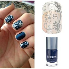 Jamberry not only has over 300 different designs, you can make your own unique look by layering clear wraps over lacquer! Shown: Silver Floral clear wrap over Stormy Seas nail lacquer.
