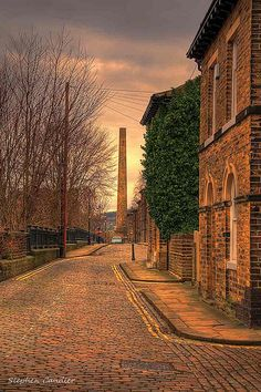 Street view in Saltaire, West Yorkshire, England